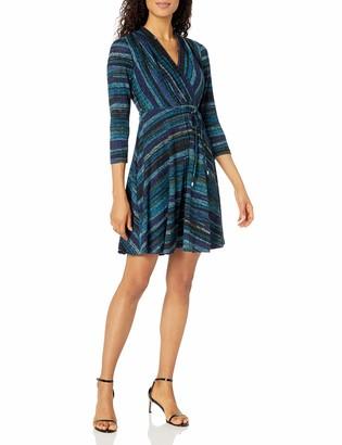 Sandra Darren Women's 3/4 Sleeve V-Neck Faux Wrap Knit Dress