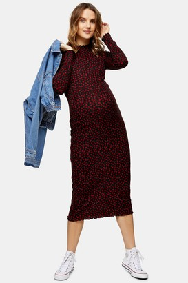 Topshop Womens **Maternity Red Rose Print Cut And Sew Midi Dress - Red