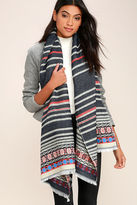 LuLu*s Cold Front Navy Blue Print Scarf
