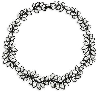 Kenneth Jay Lane Black Enamel & Crystal Leaf Choker Necklace