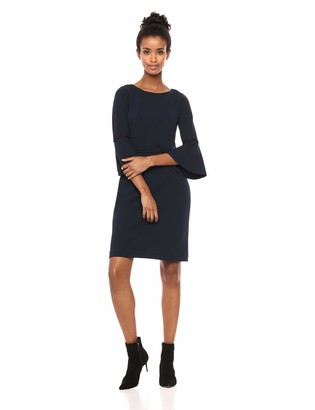 Tommy Hilfiger Women's Scuba Crepe Bell Sleeve Dress with Gold Piping