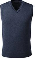 Lands' End Men's Big Performance Cotton Modal Sweater Vest-True Navy Heather