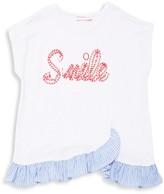 Design History Little Girl's Smile Ruffle Tee