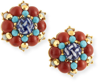 Jose & Maria Barrera Button Clip Earrings