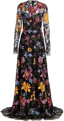 Naeem Khan Embroidered Floral Sequin Gown