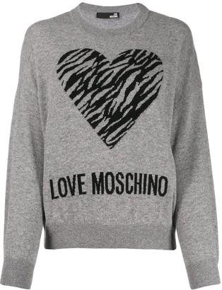 Love Moschino heart jacquard jumper