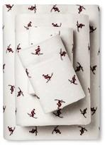 Eddie Bauer Skiers Print Flannel Sheet Set