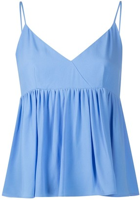 Semi-Couture ruffled hem V-neck vest top
