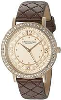 Stuhrling Original Women's Quartz Watch with Rose Gold Dial Analogue Display and Brown Leather Strap 786.02