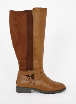 Evans WIDE FIT Brown Cross Strap Rider Boot