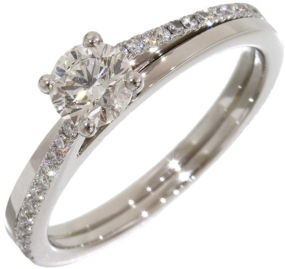 De Beers PT950 Platinum with 0.51ct Diamond Womens Ring Size 5