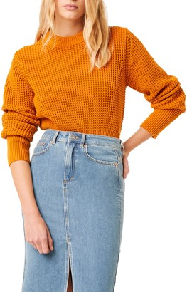 French Connection Luna Mozart Waffle Knit Cotton Sweater
