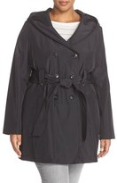Larry Levine Plus Size Women's Hooded Trench Coat