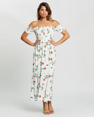 Glamorous Off Shoulder Floral Midi Dress