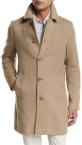 Loro Piana Dweller Wool-Cashmere Single-Breasted Coat, Desert Rose Melange/Gray Ice