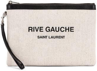 Saint Laurent Monogramme Pouch in White & Black | FWRD