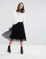 Monki Spot Mesh Midi Skirt