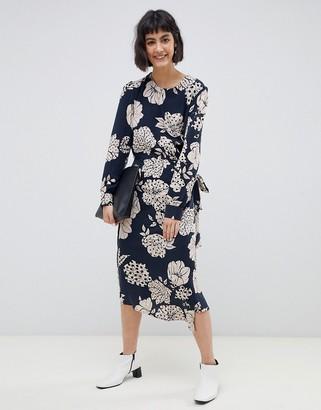 Selected Fritzi floral print wrap midi dress