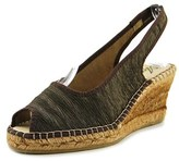 Azura Jeanette Women Open Toe Canvas Brown Wedge Heel.