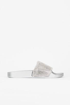 Wallis **WIDE FIT Silver Diamante Slider