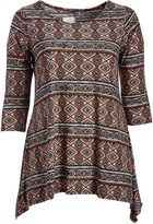 Glam Taupe & Blue Scarf Print Sidetail Tunic - Plus