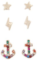Topshop Women's Pack Of 3 Star, Lightning & Anchor Stud Earrings