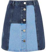 River Island Womens Blue patchwork denim skirt