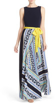 Eliza J Jersey & Crepe de Chine Maxi Dress