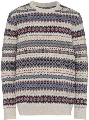 Barbour Fair Isle intarsia knit sweater