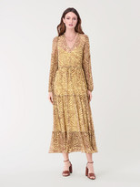 Diane von Furstenberg Venus Chiffon-Blend Tiered Midi Dress