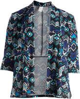 Glam Black & Purple Geo Open Cardigan - Plus
