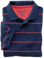 Charles Tyrwhitt Slim fit blue and pink striped pique polo
