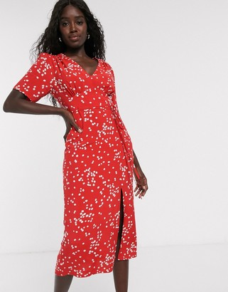 Miss Selfridge midi tea dress in red spot print