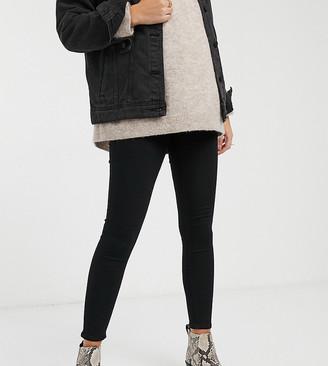 Topshop Maternity Joni overbump skinny jeans in black