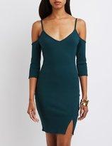 Charlotte Russe Ribbed V-Neck Cold Shoulder Dress