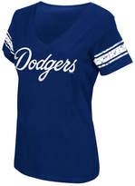 G-iii Sports Women's Los Angeles Dodgers First Pick Sleeve Stripe T-Shirt