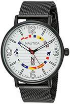 Nautica N83 Men's NAPWGS904 Wave Garden Black/White Stainless Steel Mesh Band Watch