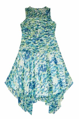 London Times Women's Mesh Sleeveless Printed Shuttered Bodice Dress