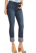 Jessica Simpson Arrow Frayed Hem Cuff Straight Cropped Stretch Denim Jeans