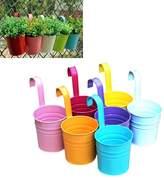 Mishiner 7 Pcs Metal Iron Hanging Flower Plant Pot Vase Balcony Garden Planter Home Decorative Random Color