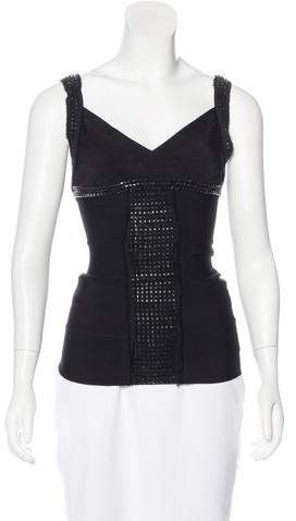 Herve Leger Sleeveless Embellished Top