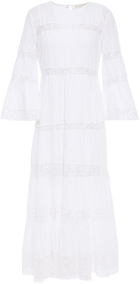 MICHAEL Michael Kors Embellished Lace-trimmed Pintucked Cotton Midi Dress