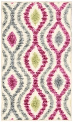 "Waverly Aura of Flora ""Optical Delights"" Jazzberry/Gray Area Rug"
