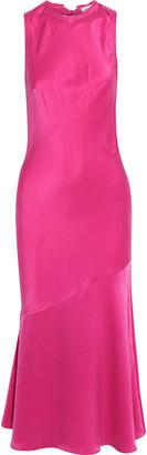 Rebecca Vallance Sophia Fluted Washed-silk Midi Dress