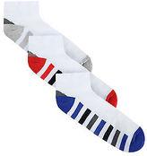 Mens Badrhino White 3 Pack Stripe Sports Liner Socks