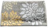 Nancy Gonzalez Slicer Metallic Crocodile Flower Clutch Bag, Anthracite
