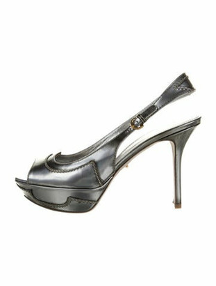 Sergio Rossi Leather Slingback Pumps Patent Leather Slingback Pumps Grey