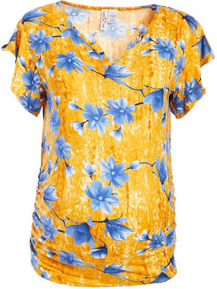 Times 2 Women's Tee Shirts MUSTARD - Mustard Ruffle-Sleeve Ruched Top