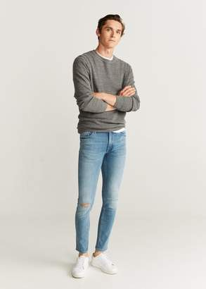 MANGO MAN - Ripped details skinny-fit jeans mint green - 28 - Men