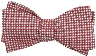 Tie Bar Be Married Checks Burgundy Bow Tie